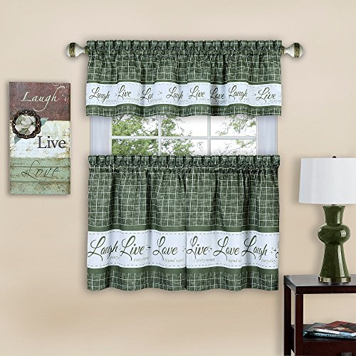 """Achim Home Furnishings Achim Home Imports Live, Love, Laugh Window Curtain Tier Pair and Valance Set, Pair & Valance 58"""" x 24"""", Green"""