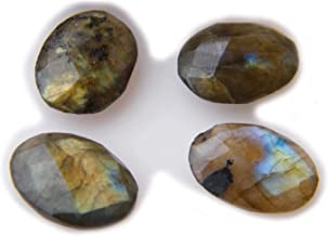Thebestjewellery Faceted Labradorite cabochon 4 Piece Lot, 20Ct Natural Gemstone, Oval Shape Cabochon 4 Piece Lot for Jewelry Making SKU-8979