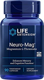 Life Extension Neuro-mag Magnesium L-threonate Dietary Supplements, 90 Capsules, Pack of 2