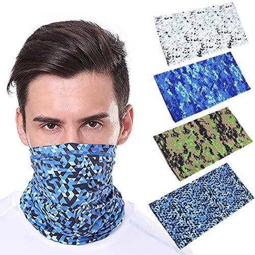 Bohend Multifuncional Pañuelo facial Deporte Bandana Neck Gaiter Elcastic Camuflaje Sombreros Respirable Nuestras puertas Vendas Para Hombres Y Mujeres (4 Paquete)