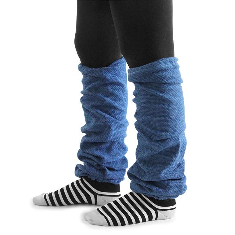 文字通り偏見側レッグウォーマー 藍染(あまべ藍)(ロング)EMバイオ糸 ワッフル編 低速編み機使用生地 日本製 トータス