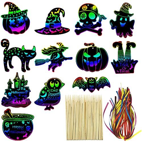 Aviski 48 Piezas de Papel de rascar para Halloween, Color Arco Iris, Adornos de Halloween, Kits de Arte para Colgar Manualidades con Palo de Madera y Cinta, decoración de Fiesta de Halloween
