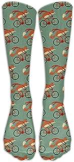N / A, Fox Riding Bike Crew Sock Crazy Socks Tube Calcetines altos Novedad Divertida Luz delgada para adolescentes Niños Niñas 50 cm / 19.7 pulgadas