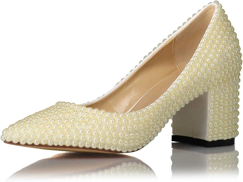 Miyoopark LS0636 Women's Chunky Low Heel Pointed Toe Bridal Wedding Pumps
