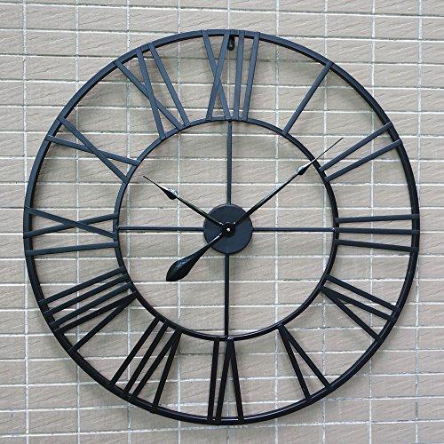 CRZJ Vintage Wanduhr 80 cm schwarz runde europäische Art-Rom-Dekorationsuhr-Wohnzimmer übergroße stumme Eisen-Kunst-Retro Wanduhr