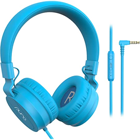 PuroBasic Volume Limiting Wired Headphones for Kids, Boys, Girls 2+ Foldable & Adjustable Headband w/Microphone, Compatible with iPad, iPhone, Android, PC & Mac – by Puro Sound Labs, Blue