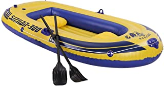 10ft Inflatable Boat Series Explorer Touring Kayak Canoe Boat Set 4-Person PVC Inflatable Rafting Fishing Dinghy Tender Pontoon Boat with Paddles and Air Pump for Water Sports Fun