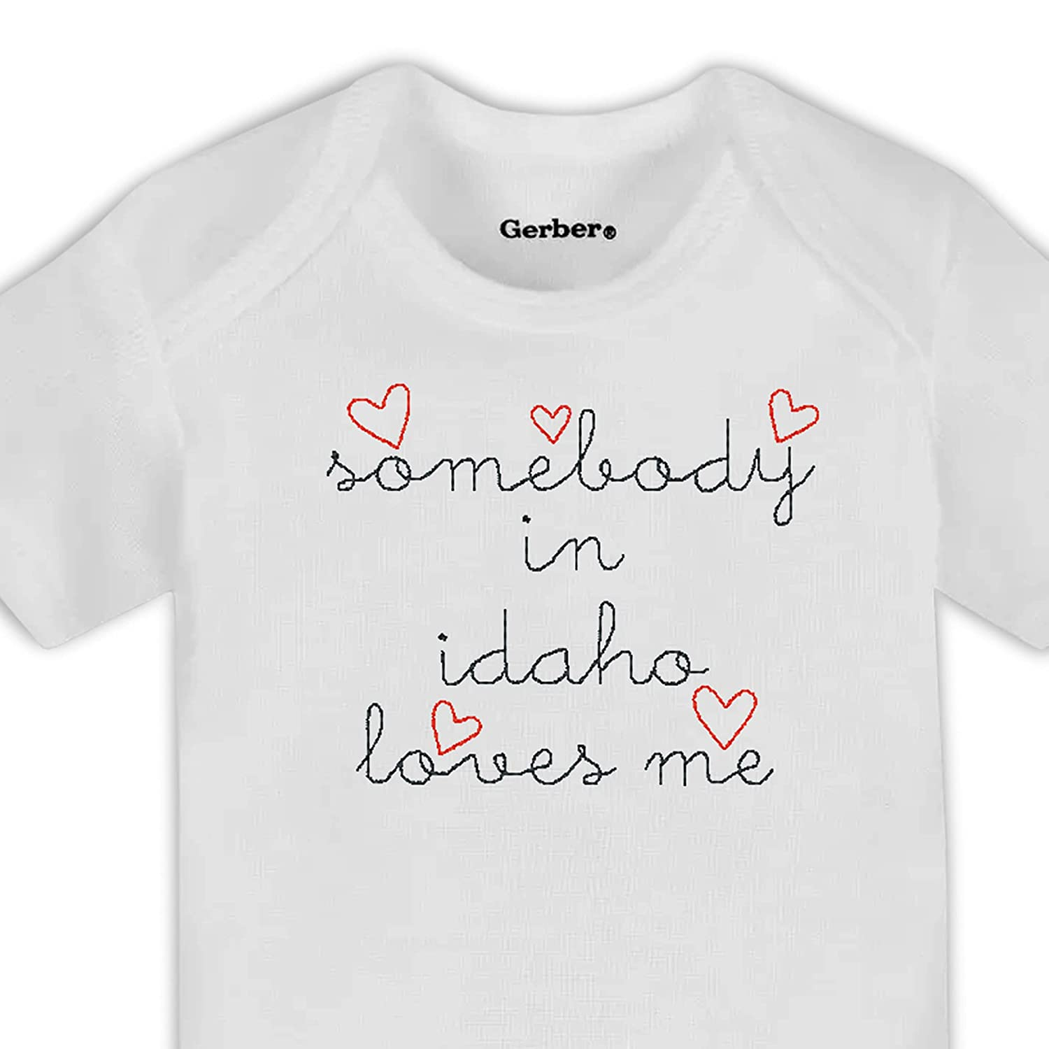 Somebody In Idaho Loves Me G Embroidered 100% quality warranty Baby Onesie® Shower free shipping