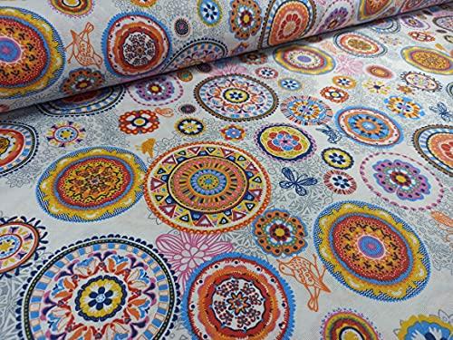 RIVERO TEJIDOS. Loneta estampado mandala naranja. Metraje 2,45m x 2,80m. Ideal para la confección de cortinas, manteles.