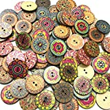 PRENKIN 100pcs / Bag Rotonda Assortiti Floreale Stampato Bottoni Decorativi di Legno per Fai da Te Cucito Crafts Colore Casuale