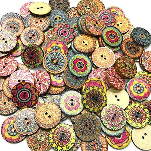 Beaums 100pcs 15MM Bolsa Redonda Surtido Impreso Floral Botones Decorativos de Madera de DIY de Coser Crafts Color al Azar 15MM