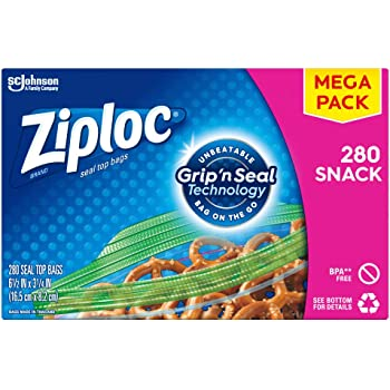 Ziploc Snack Bags with New Grip 'n Seal Technology, Ideal for Packing Cookies, Fruits, Vegetables, Chips and More, 280 Count