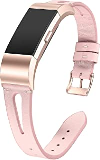 bayite Leather Bands Compatible with Fitbit Charge 2, Replacement Genuine Wristband Straps Women, Pink with Rose Gold Connector Small