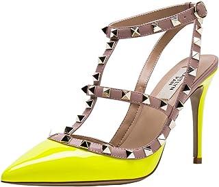 e630c71e136 Kaitlyn Pan Pointed Toe Studded Slingback High Heel Leather Pumps