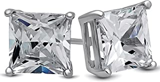 18k White Gold Cubic Zirconia Square 7mm 1.25 Carat Studs Earrings Gift Box Included