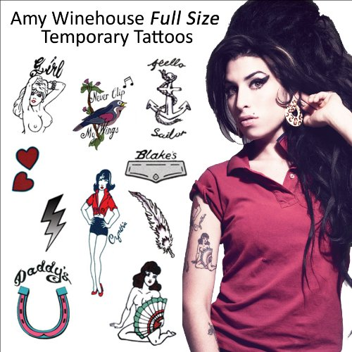 Amy Winehouse Temporary Tattoos (P-9039)