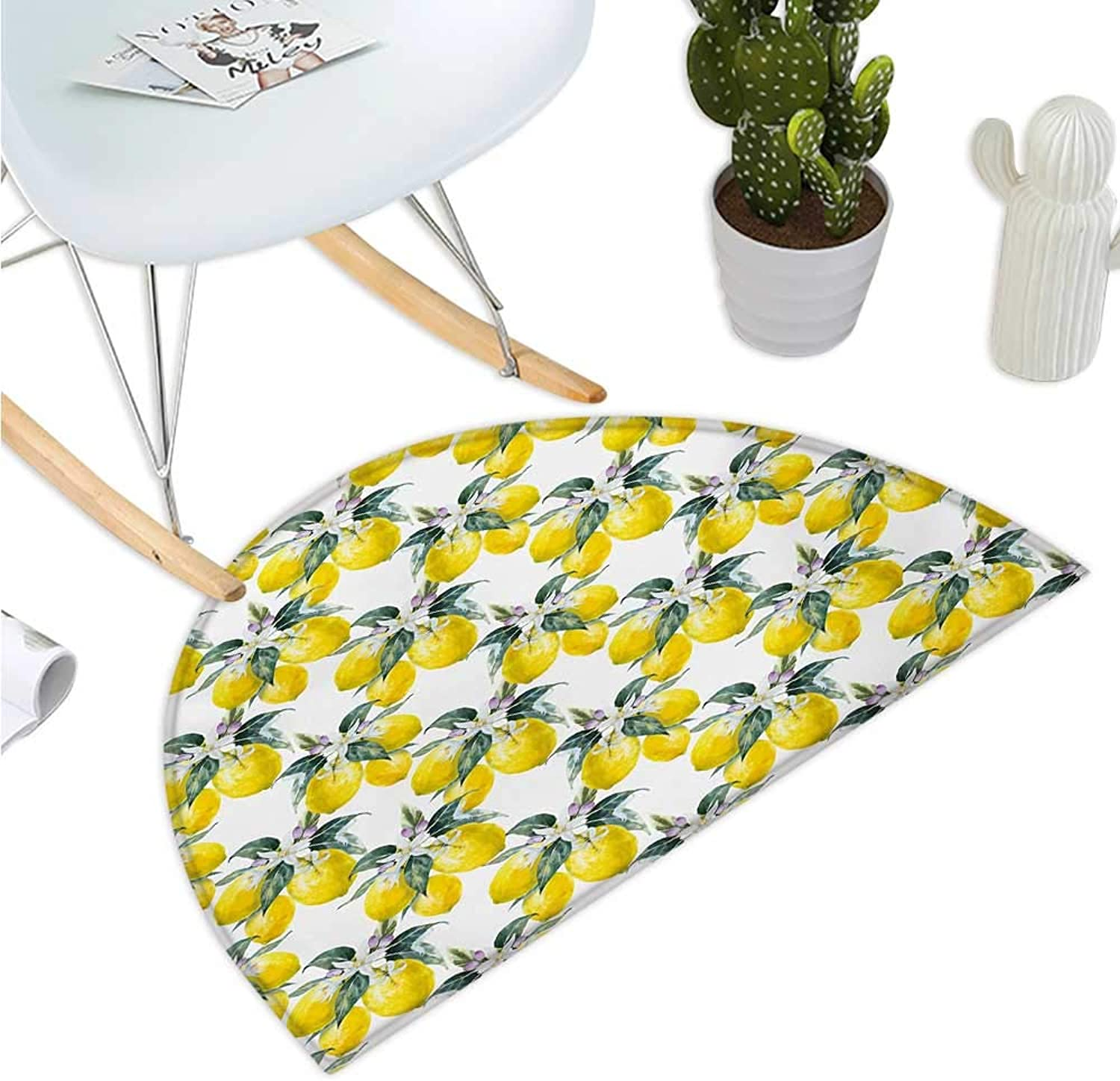 Nature Semicircle Doormat Lemons Flowers Inspirational Summer Season Fruits Mother Earth Boho Pattern Entry Door Mat H 35.4  xD 53.1  Reseda Green Yellow