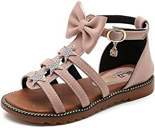 8bda755f64225 CYBLING Girls Strappy Gladiator Sandals Ankle Strap Comfort Flat Roman Shoes  (Toddler Little Kid