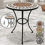 Jago Mosaiktisch - rund oder eckig, Stahl, Ø60 - Balkontisch, Gartentisch, Bistrotisch, Beistelltisch, Balkonset, Bistroset, Mosaikmöbel für Terasse