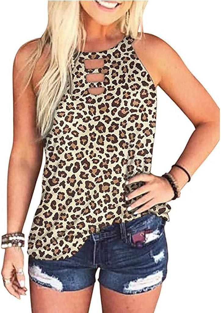 POLLYANNA KEONG Womens Summer Leopard Tie-Dye Basic Tank Tops Casual Loose Sleeveless Graphic Tee Shirts