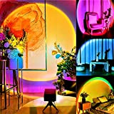 Naswei Sunset Lamp Color Changing 16 RGB Sunset Projection Lamp Sun Rainbow 360 Degree Night Lights Projector TikTok Led Ring Light with Music Remote USB Modern Floor Stand Living Room Bedroom Decor