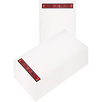 """8 NET 1000 Pieces 7.5/'/' x 5.5/'/' Clear Packing List Envelopes Self-Adhesive Invoice Packing Enclosed Pouches /""""Packing List Enclosed/"""" Printed on Red Background"""
