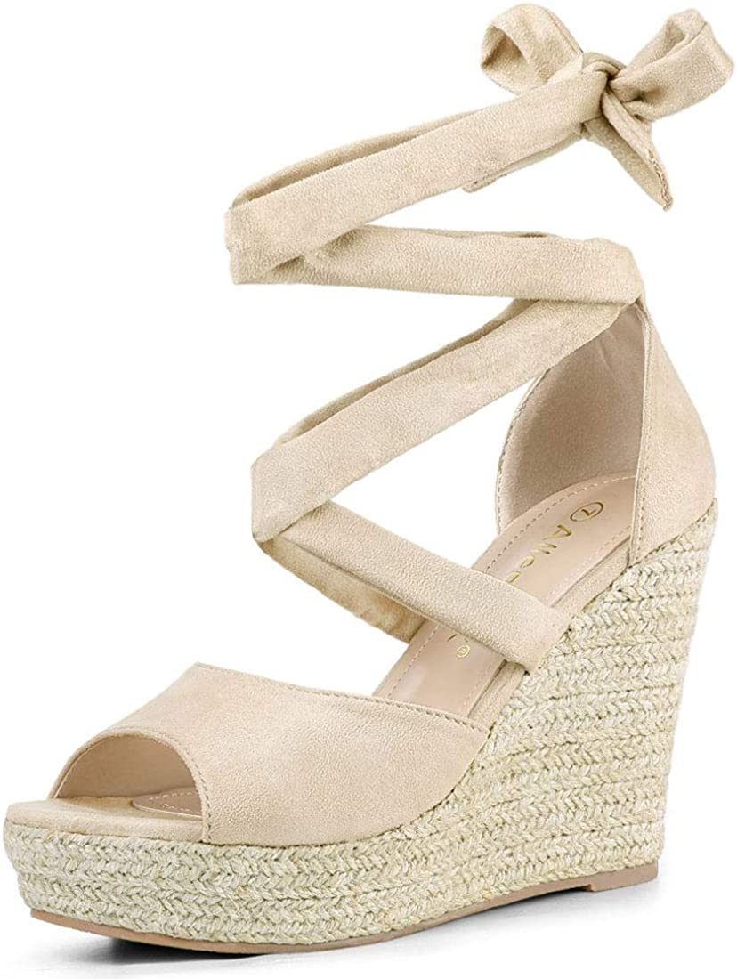 Allegra K Tucson Mall Women's Chicago Mall Lace Wedges Espadrilles Sandals Up