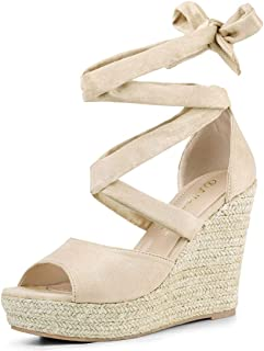 tie up wedge heels