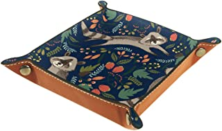 BestIdeas Panier de rangement carré 20,5 × 20,5 cm, avec petit raton laveur dessiné à la main, boîte de rangement sur tabl...