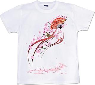 [GENJU] Tシャツ 桜 和柄 扇子 SAKURA イベント スポーツジム 和風 しだれ桜 裏もデザインあり メンズ キッズ
