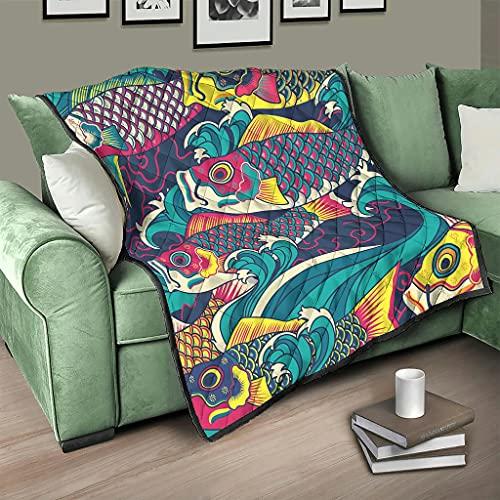 AXGM Colcha multicolor con diseño de peces japoneses, 230 x 260 cm, color blanco