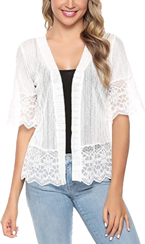 Women's Summer Lace Cardigan Open Front Bolero Shrug Ruffle Half Sleeve Sheer Jacket Crochet Cardigan Plus Size