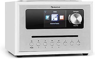 auna Silver Star CD Cube Radio - Radio con WiFi y Reproductor de CD , Microcadena , Radio FM , Bluetooth , 10 W , Pantalla...