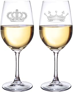King Crown and Queen Tiara Wine Glasses, Set of 2