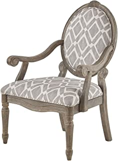 Madison Park Brentwood Accent Chairs-Birch Hardwood, Hand Carved Scroll Design Living Armchair Modern Classic Style Family Room Sofa Furniture Bedroom Lounge, Medium, Grey/White