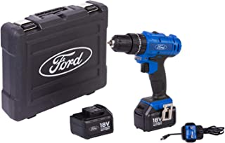 Ford Cordless 18V Drill with 2 Batteries and BMC Box, FPW1015-18V, Multi-Colour