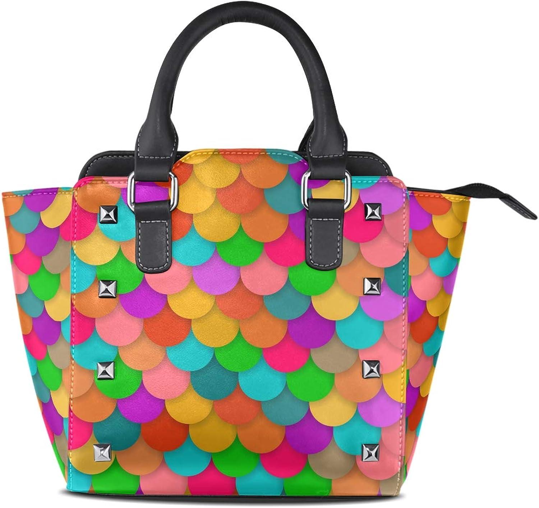 My Little Nest Women's Top Handle Satchel Handbag colorful Scales Ladies PU Leather Shoulder Bag Crossbody Bag