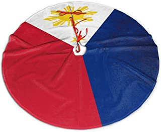 Flag of The Philippines Christmas Tree Skirt Luxury Xmas Tree Skirt Thick Large Christmas Supply Elegant Xmas Decor Round Xmas Ornaments for Xmas Christmas Decorations Indoor Outdoor
