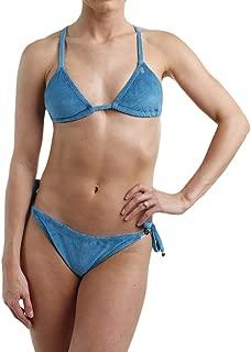 Womens Velour Logo Bikini Swimsuit Blue XS