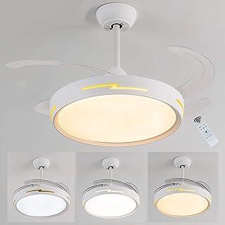 Ventilador techo,Ventilador de Techo con Lámpara,ventilador techo con motor dc,54W 3300lm Ventilador Invisible LED Lámpara de Techo Control Remoto Regulable función inversa Ventilador Lámpara