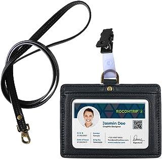 """porte-badge lanière Badge d'identification en cuir porte-badge double face en Porte-badges horizontal,Badge 3""""*4"""" (noir)"""