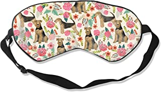 Airedale Terrier Dog Cute Dogs Spring Florals Flor Sleep Mask Pack Men and Women Or Children Eye Mask No Pressure Eye Masks for Sleep & Travel