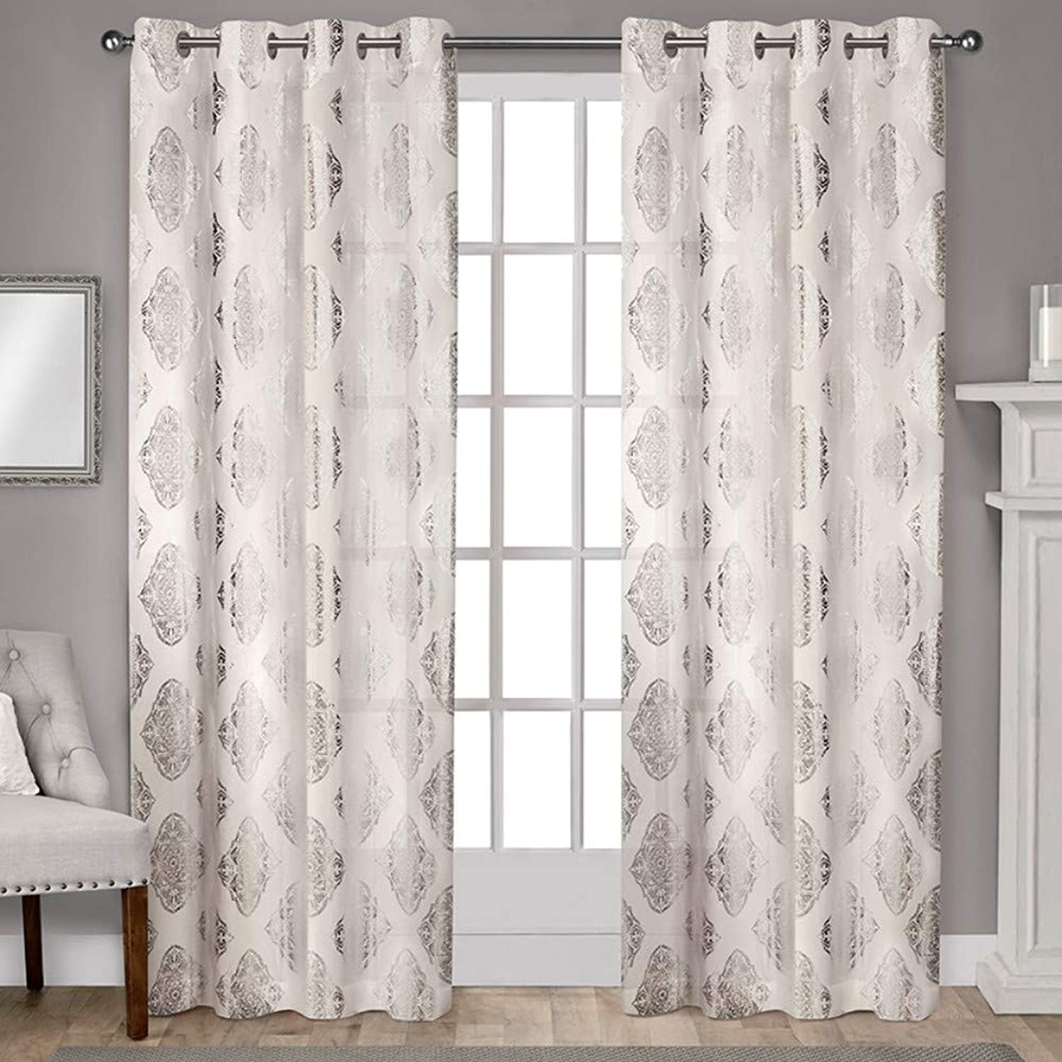 Exclusive Home Curtains Augustus Metallic Light Filtering Window Curtain Panel Pair with Grommet Top, 54x96, Off- Off-white, 2 Piece