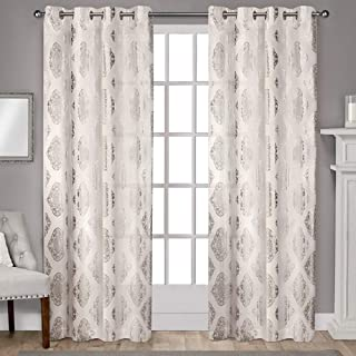 Exclusive Home Curtains Augustus Metallic Light Filtering Window Curtain Panel Pair with Grommet Top, 54x96, Off- Off-whit...
