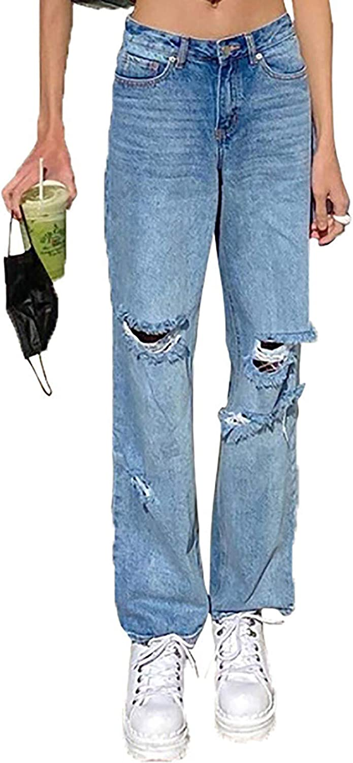 MASZONE Y2K Jeans with Holes for Women High Waisted Stretch Pants Straight Leg Casual Ripped Denim Pants Trousers