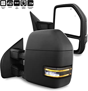 For 17+ F250 F350 F450 Ford Super duty Pair Power+Heated+Turn +Aux + Clearance Lamp Black Texture Towing Side Mirrors