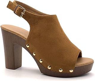 602087354e18e5 Angkorly - Chaussure Mode Sandale Mule Hauts Talons Vintage/rétro  Plateforme Femme Effet Bois clouté