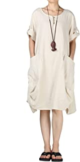 Mordenmiss Women's Cotton Linen Dresses Plus Size Summer Roll-up Sleeve Baggy Sundress with Pockets