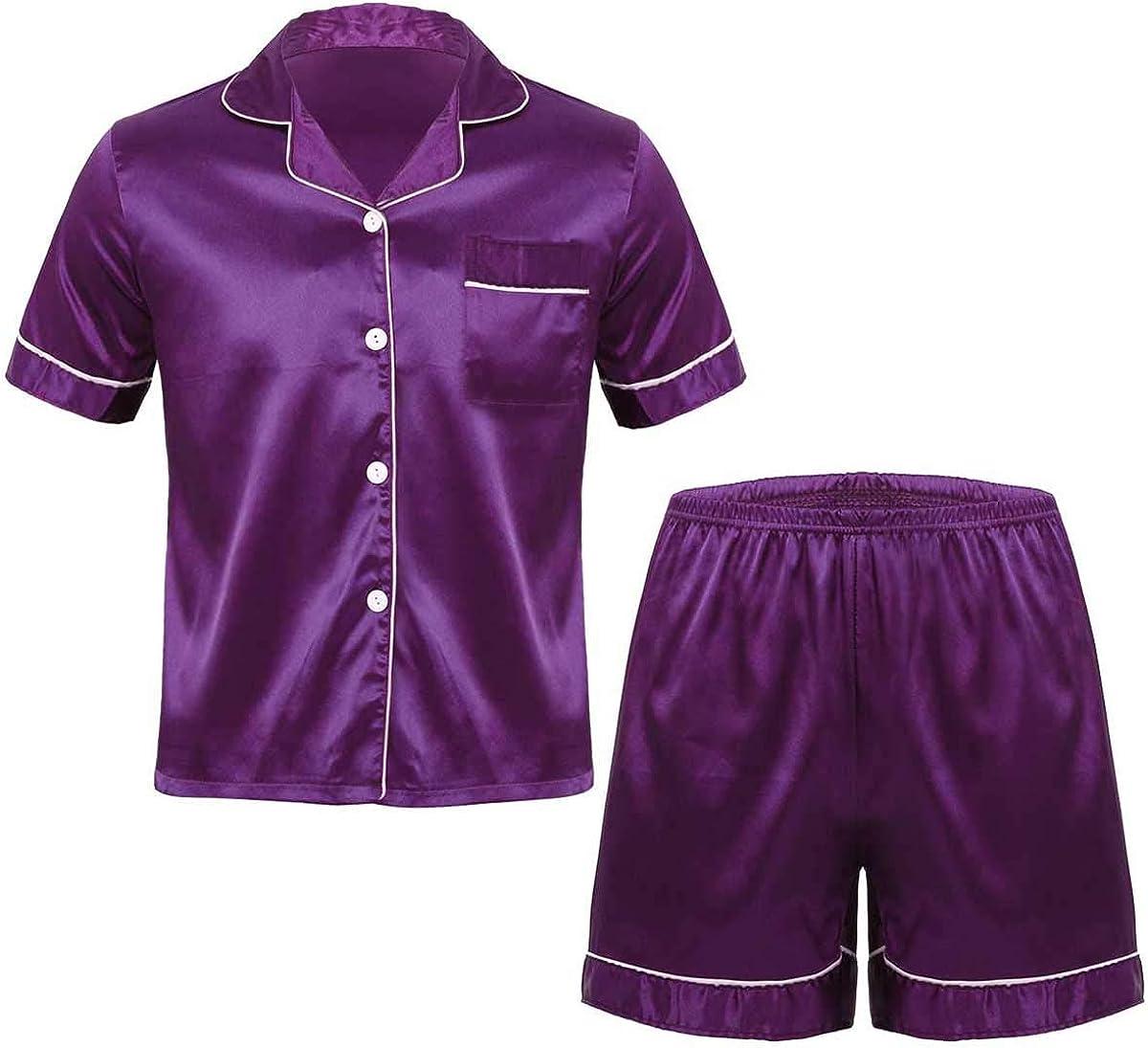 zdhoor Men's Satin Silk 2 Pieces Pajamas Set Short Sleeve Button Down Shirt Sleep Lounge Shorts Bottom