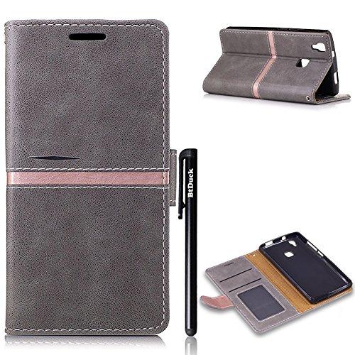 Doogee X5 Max/ X5 Max Pro Grau,BtDuck PU Leder Design Handyhülle Hülle Buch Leder Stand Halter Tasche Flip Einfach Cover Briefcase Doogee X5 Max 5.0